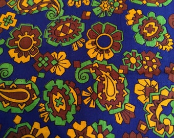 Vintage Fabric 1950s 1960s Blue Green Yellow Paisley 3 yards