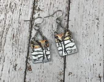 Tree and landscape copper with aluminum earrings, mountain jewelry, nature jewelry