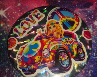 Lisa Frank Silver Holographic Hippie Girl 2.25 Pocket Mirror