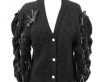 A vintage 1980s designer Vanessa Grey luxury mohair black novelty leather bow rhinestoned sweater cardigan size S M