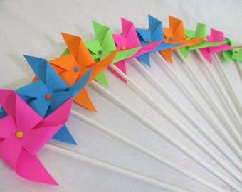 Party Favors Paper Pinwheels Rainbow Cupcake Toppers Birthday Party Decorations Baby Shower Wedding Guest Gifts Party Decoration Tableware