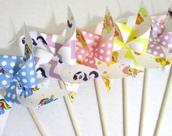 My Little Pony Birthday Favors Paper Pinwheels Party Decorations Birthday Party Favors Birthday Decoration Table Centerpiece Rainbow Dash