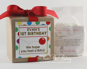 HAVING A BALL - One Dozen (12) Personalized Cupcake Mix Birthday Party Favors