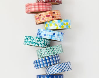 Geometric Washi Tape Set - 10 Whole Washi Tapes - erin condren - planner - Love My Tapes