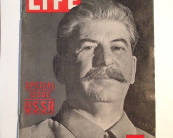 STALIN! RUSSIA!  Highly Collectible LIFE Magazine, Special Issue, Stalin on the Cover, Great Articles, March 29 1943!