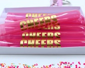 Bachelorette Party Favors, Pink shot glass, plastic tubes, Cheers, metallic gold