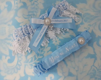 Soft blue Personalised heart Wedding Garter set - heart and pearl Blue satin and Venise Lace, monogrammed, you're next garter