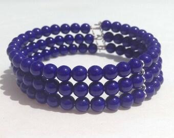 Cobalt Glass Bead Memory Wire Cuff Bracelet