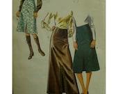 """Front Slit Skirt Pattern, Long/Short, Contour Waist, A-line, Evening Skirt, 1970s, Style No. 3329 Size 16 (Waist 29"""" 74cm)"""