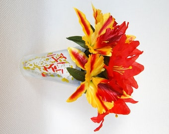 Get your Diva on with this set of 8 Orange Tiger Lilies and Red and Yellow Orchid BIC Pens Black Ink Floral Anti-Theft Pens Orange & Yellow