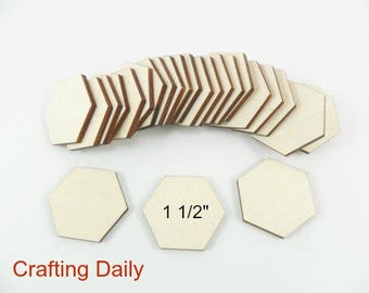 """Wood Hexagon 1 1/2"""" (38.1mm) side/side x 1 3/4"""" (44.45mm) point/point x 1/8"""" Laser Cut Wood Tiles Game Pieces - 25 Pieces"""