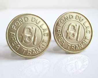 Fond du Lac, WI Transit Token Cuff Links - Recycled Vintage Coins