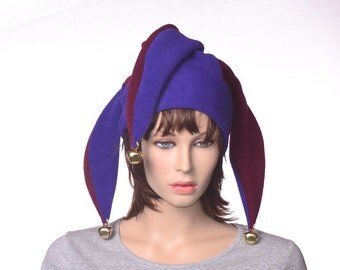 Purple Maroon Jester Hat New Orleans Three Point Harlequin Cap with Pompoms Fleece Mardi Gras Carnival