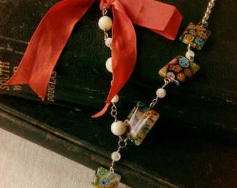Brigantia Mother of Pearl and Millefiori Bead Necklace