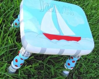 Sailboat Nautical Stool Child's Stool