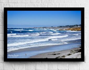 Pebble Beach Waves, California Photography, Blue and White Home Decor, Pebble Beach Photo, California Beach Photo, California Waves