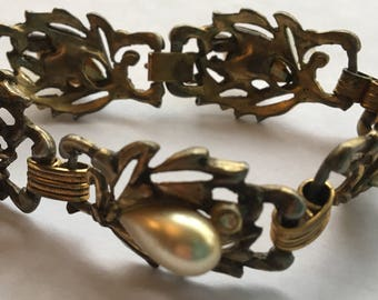 Sale Vintage Faux Pearl Rhinestone Bracelet
