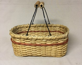 Hand Woven Jelly Jar Basket, Wire Swing Handles, Rust Accent Color