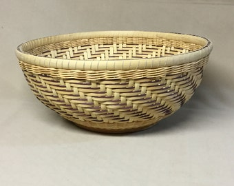 Hand Woven Round Bowl-Type Basket, Plum Accent Weaving, Wood Base, Twill Weave