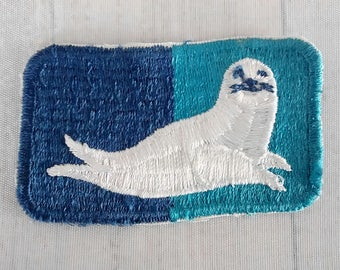 "Irregular Vintage 3.4"" Sew On White Seal Patch, Baby Seal, Come By Chance Refinery, Uniform Applique Collectible ,Newfoundland Oil Refinery"
