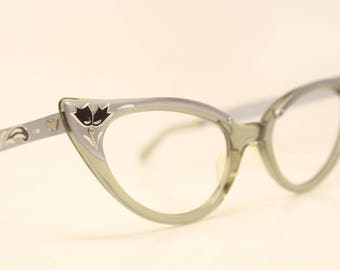 Unused Pointy Gray Combination cat eye glasses  vintage cateye eyeglasses frames New Old Stock