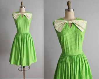60's Polka Dot Dress // Vintage 1960's Green Polkadot Cotton Big Bow Full Skirt Garden Party Dress S