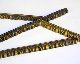 "Antique Brass Edge Border Trim: Vintage Nouveau Art Frame or Home Decor Restoration Hardware -- 10"" Long Set of 4 Four Metal Edging Strips"