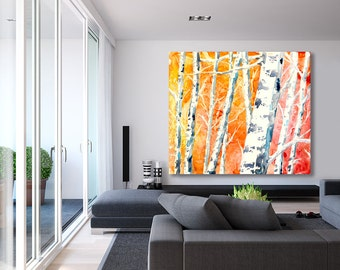 Watercolor Painting - Falling for Color - Birch Aspen Tree Art Print