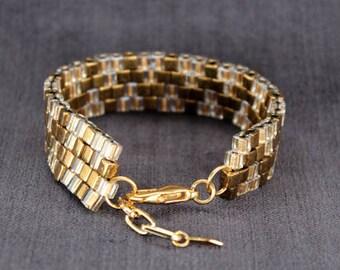 Beaded Bracelet in Gold & Bronze