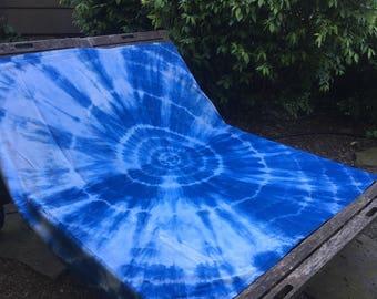 Hand Dyed Indigo Shibori Cotton Blanket