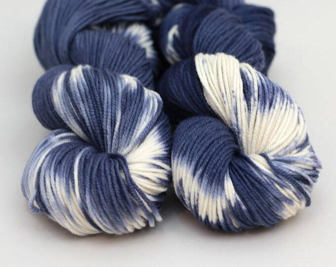 """Hand dyed yarn Merino, Baby Alpaca, Silk """"Denim Shibori"""" in Norah, DK weight"""