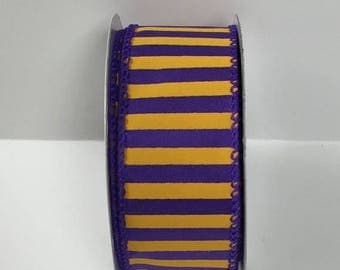 20% OFF 1.5 Inch Purple Yellow Striped Ribbon 223995-1048, Wired Ribbon, College Wreath Ribbon