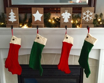 Ready to ship, Sweater Christmas stockings, set of four, green stockings, red stockings, Christmas decor, mantle decor, rustic christmas