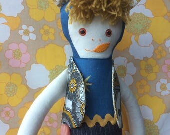 BARTY BearCub,  Teddybear BOY Rag Doll in Grey, Mustard, Blue, Paisley Vintage Fabric,  a Forest Friend by Witty Dawn