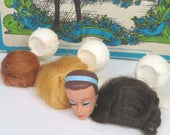 Barbie Doll Fashion Queen Head, Three Wigs, Wig Holder Stand, 1960s Collectible