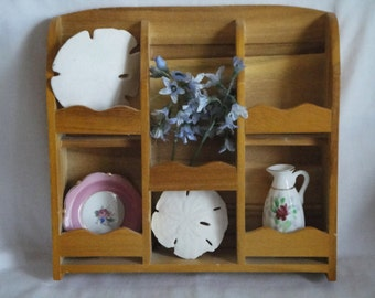 Wood Shelf Display Miniatures Knick Knacks Divided Shadow Box Vintage