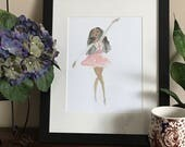 Grace- Dancer Art, Black Girl Magic Prints, Illustration, Ballerina Wall Art, Dancer Art- LeMahogany Art