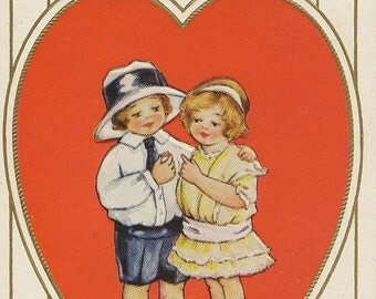 Embossed Vintage Whitney Valentine's Day Postcard Young Love – Boy Presents Girl with Ring