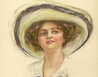 Antique Pretty Lady Postcard American Girl No 4 Pearle Fidler LeMunyan 1912 - Charming Artist Signed Vintage Postcard