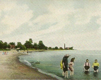 Antique UDB Postcard 1910 COBOURG Beach Cobourg Ontario Closed PO Cancels – Great Summer Fun At The Beach