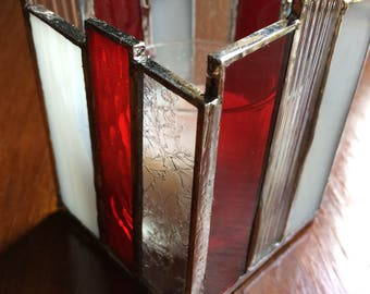 Stained Glass Candle Holder, Red, White, Clear