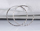Textured Sleeper Hoop Earrings Diamond Cut in 925 Sterling Silver - 40mm / 50mm / 60mm