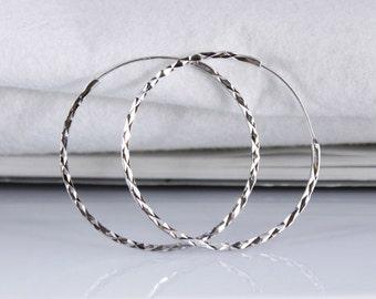 Textured Sleeper Hoop Earrings Diamond Cut in 925 Sterling Silver - 40mm / 50mm / 60mm