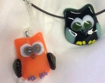 Glass Fused Owl Pendant