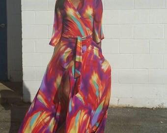 Maxi Wrap Dress Tropical