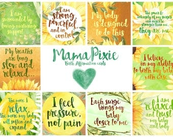 Sunflowers - Positive Birth Affirmation cards - birth and pregnancy