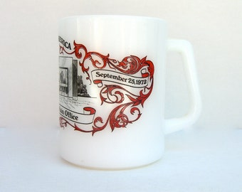 Vintage Fire King Promotional Mug, Bank of America B of A, Los Angeles Opening Day 1972, Retro Milk Glass Souvenir
