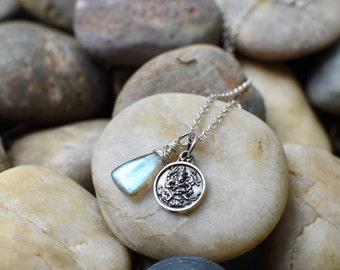 Reversible OM/Ganesha Labradorite Necklace Sterling Silver OOAK