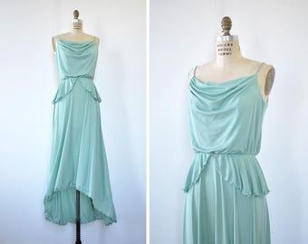 70s Maxi Dress • Green Gown • Seafoam Dress • 70s Disco Dress • Vintage Maxi Dress • Peplum Dress • Ruffle Dress • Elastic Waist Dress |D695
