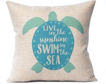 Sea Turtle Pillow Cover - Beach Decor - Turquoise - Faux Burlap Pillow Cover with Zipper - 16 x 16 - Nautical Decoration - Decorative Pillow
